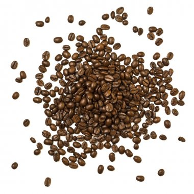 Shot from above pile of coffee beans