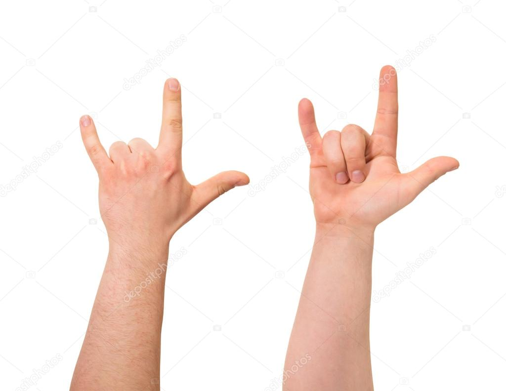 Sign Of Horns Hand Gesture Isolated Stock Photo Exopixel 27889991