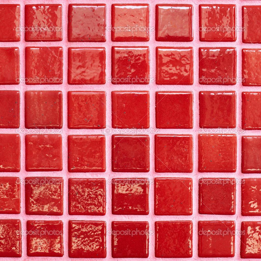 Muro piastrellato con mattonelle rosse — Foto Stock © exopixel ...