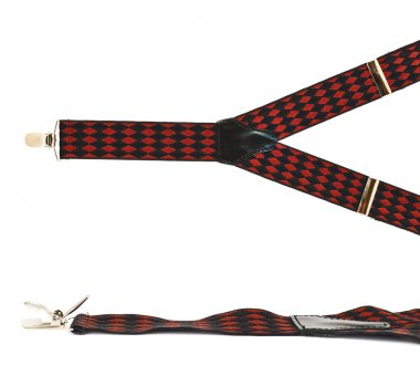 Suspenders red fabric straps isolated