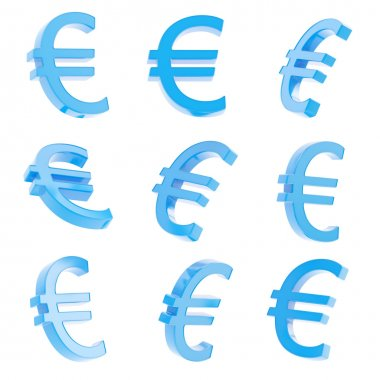 Euro blue currency sign render isolated over white background, set of nine foreshortenings stock vector