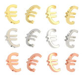 Euro currency sign set isolated