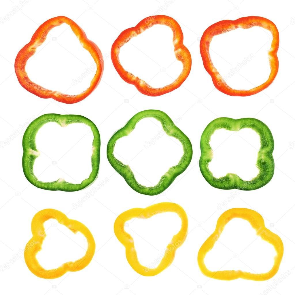 Set of sliced bell pepper section pieces