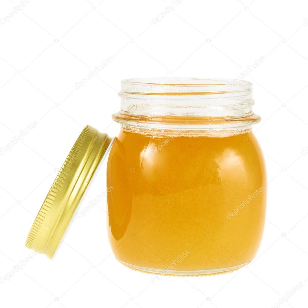 abbastanza vasetto di miele aperto isolato — Foto Stock © exopixel #47068963 ZL41