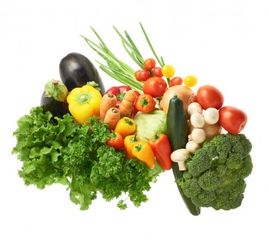 Multiple vegetables composition isolated over the white background stock vector