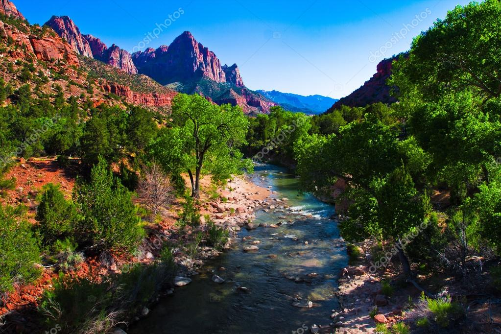 Virgin River Running through Zion National Park,Utah,United States