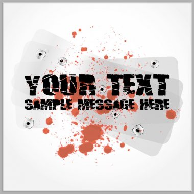 Distorted text with blood spatter on a metallic background with gunshot holes stock vector