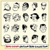 Collection of twenty hand drawn cartoon heads in black, isolated on light yellow background