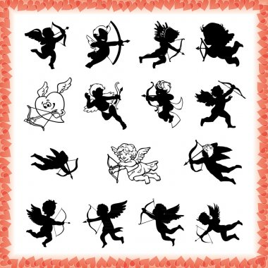 Collection of cute cupid figures in black, isolated on white background