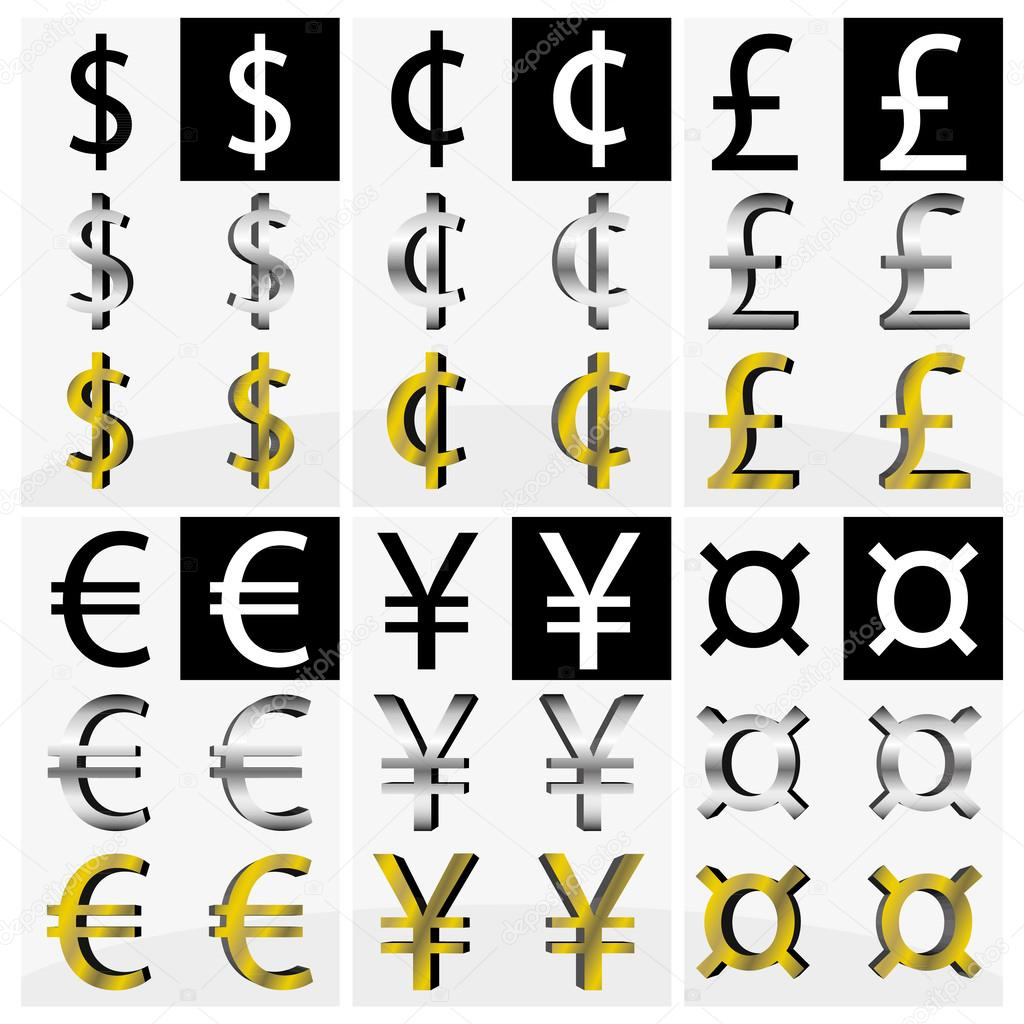 Collection Of Different Currency Symbols In Black And White Silver