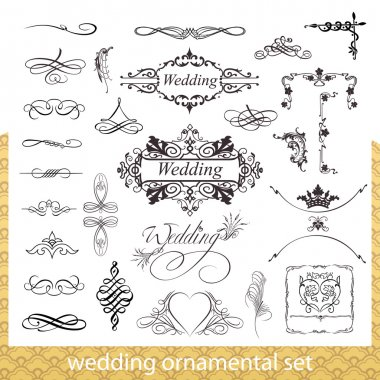 Wedding ornamental set with hearts, corner and border elements isolated on white background