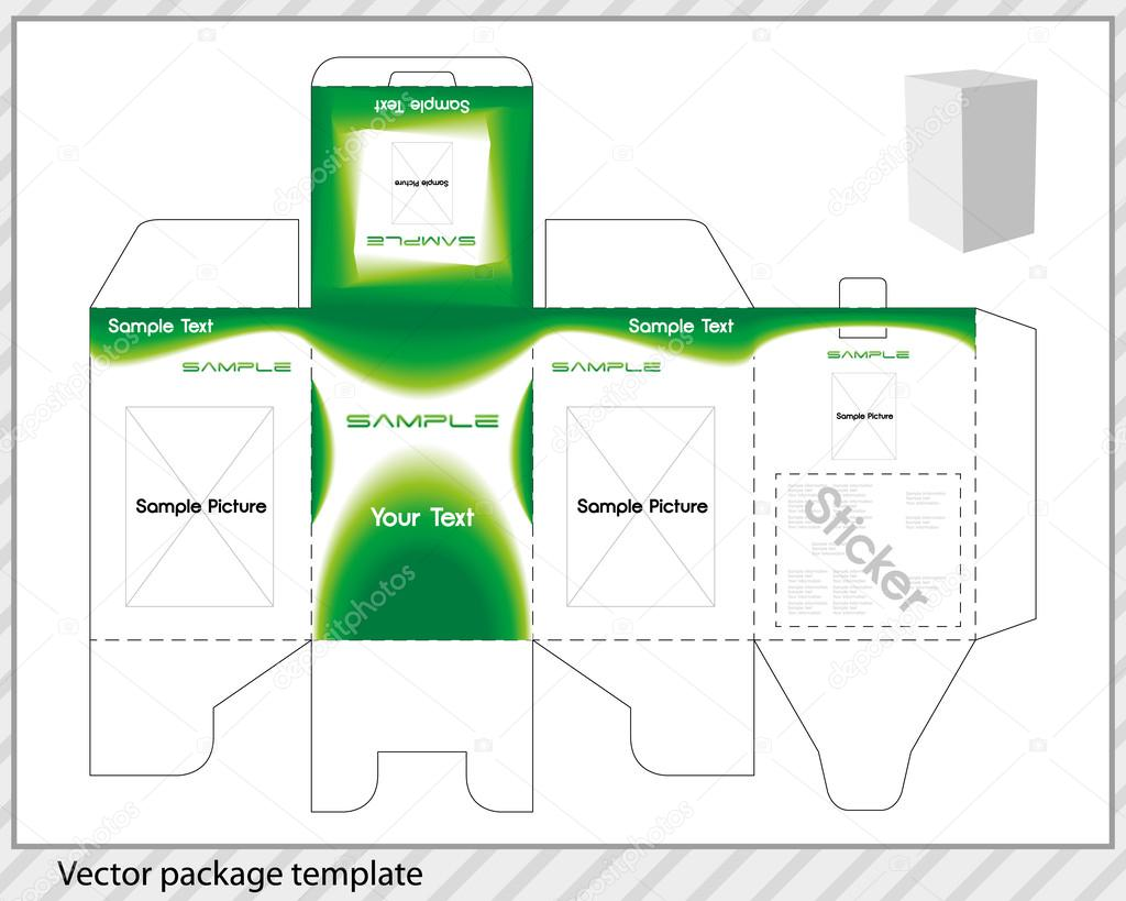 Vector package template with applied design