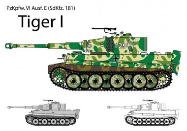 German WW2 Tiger tank with Winter and Spring camouflage