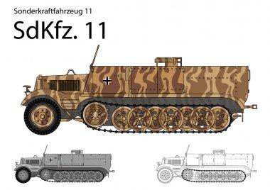 WW2 German SdKfz. 11 troop transport and general purpose half track