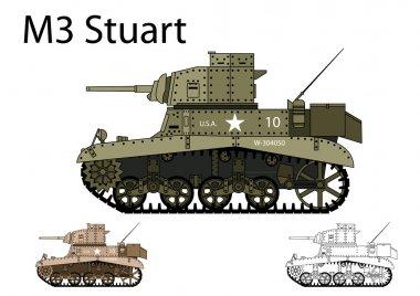 American WW2 M3 Stuart light tank
