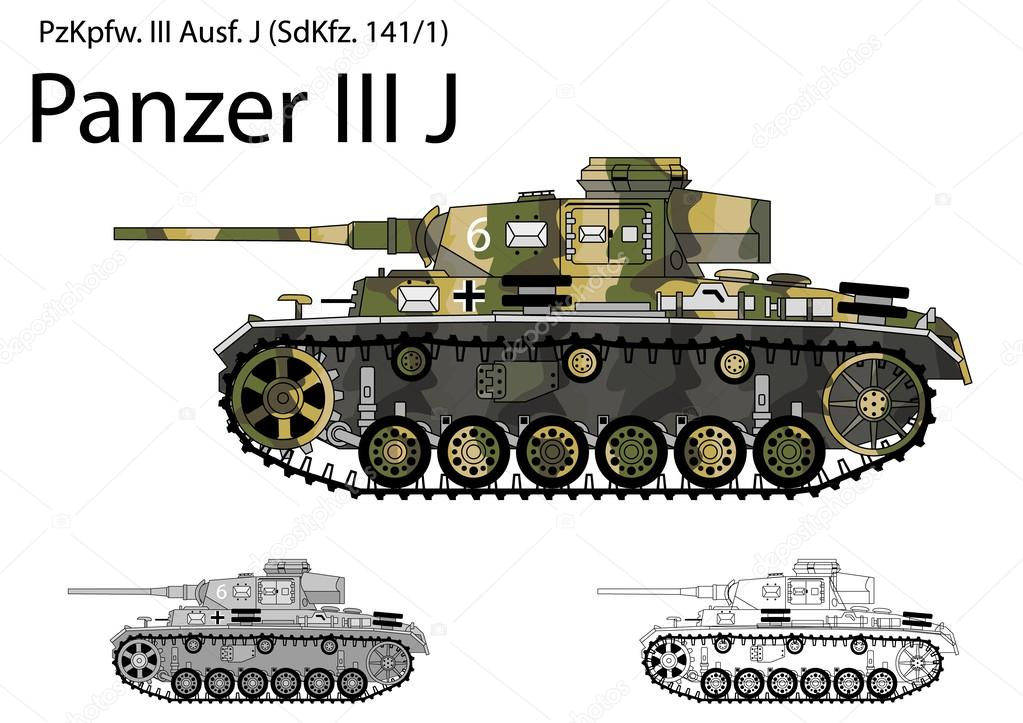 German WW2 Panzer III J tank with long 50 mm L60 gun — Stock