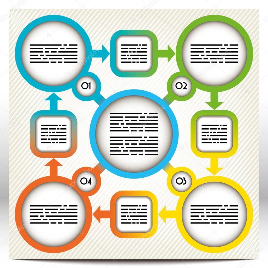 colorful presentation template with five large circles and four