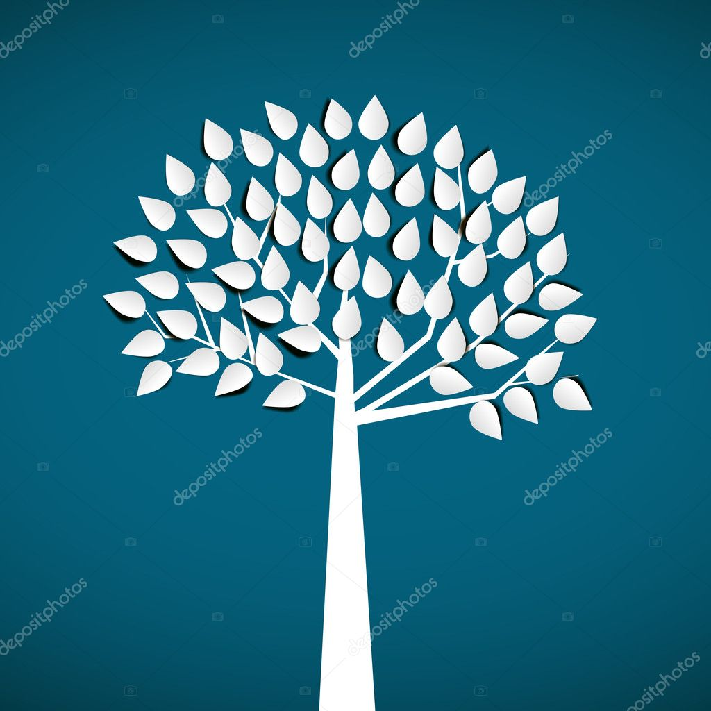 abstract white paper tree, on blue background
