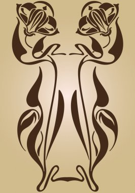Art Nouveau frame design ornament