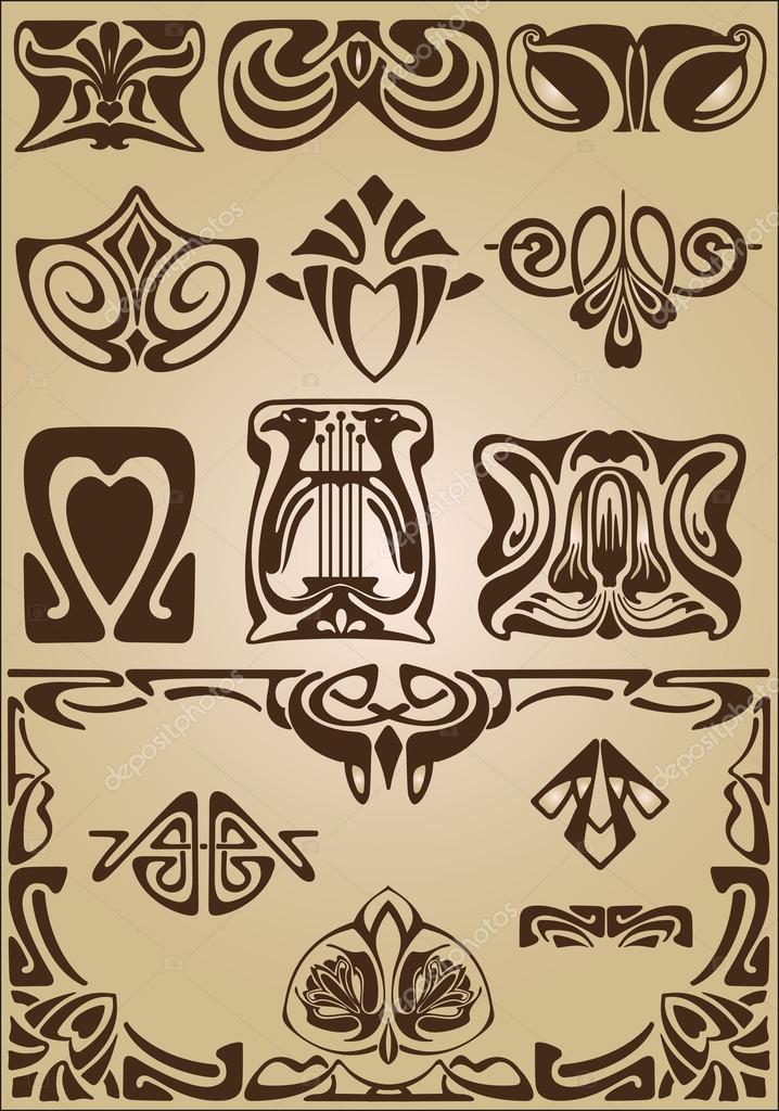Art Nouveau Design Elements And Frame Stock Vector