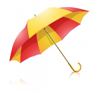 The sun is shining on a yellow-red umbrella