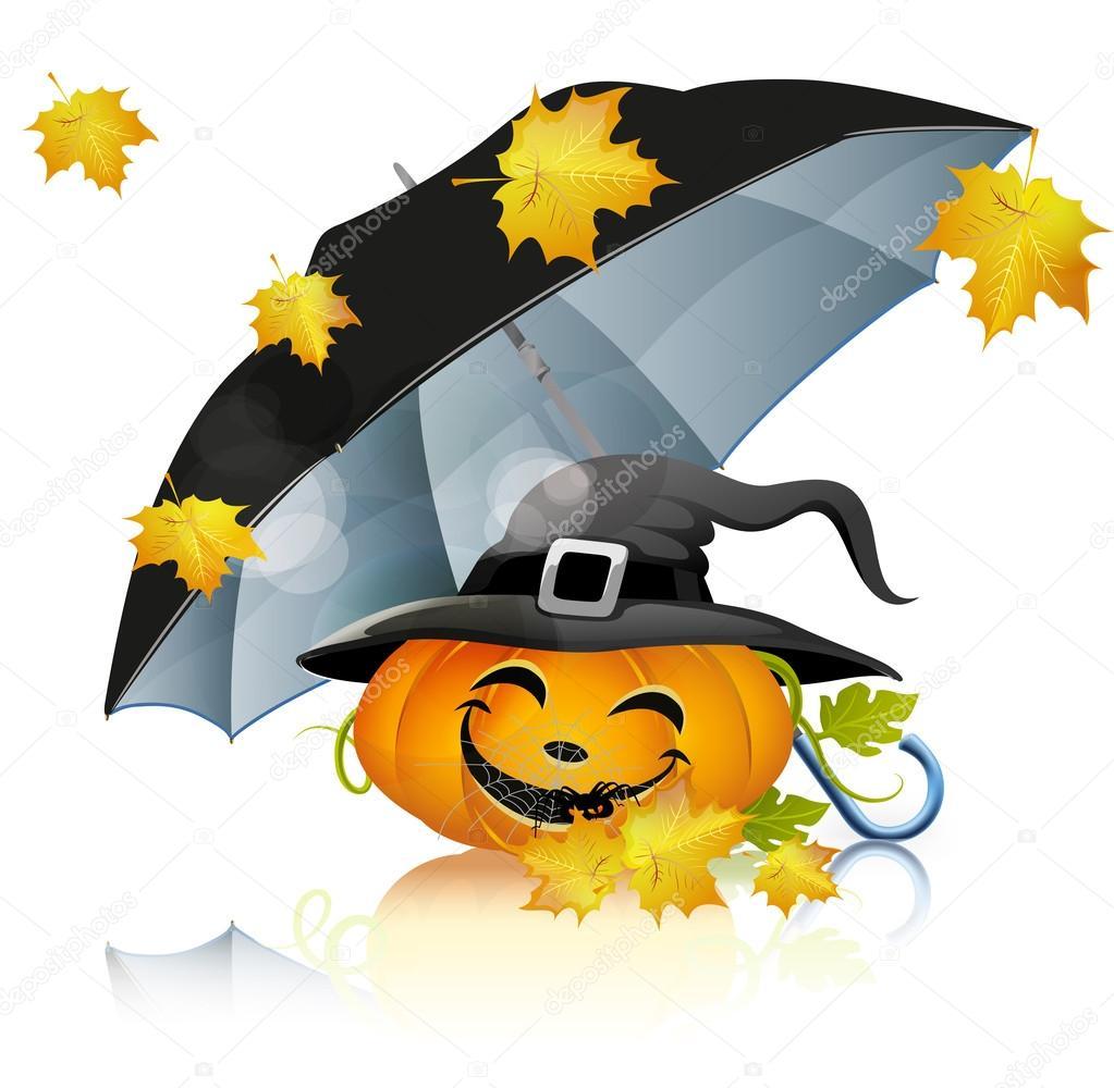 Pumpkin under black umbrella