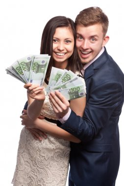 Man and woman with money in hands