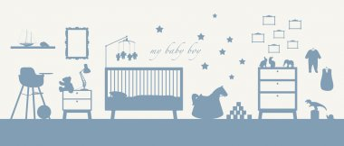 baby boy room interior blue silhouette