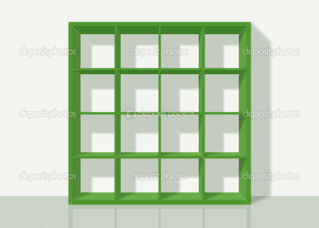 Green Empty Square Bookshelf On White Wall Background Stock Photo