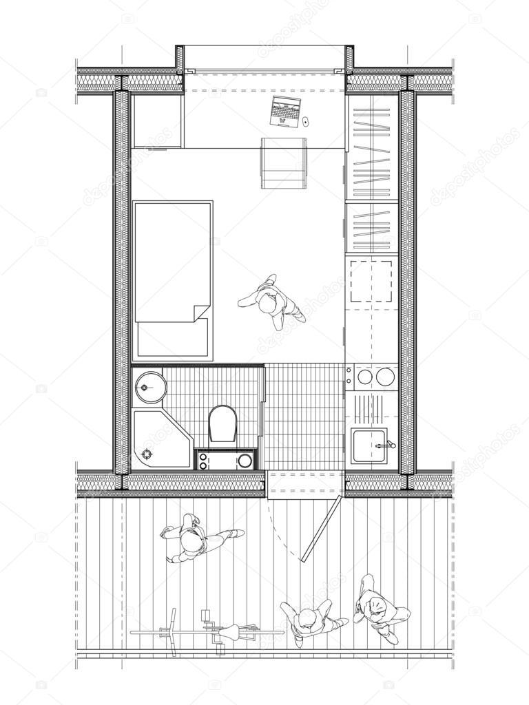 Techniczny plan pokoju studenta zdj cie stockowe for Chambre 9 metre carre