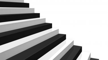 Close-up black and white glossy stairs