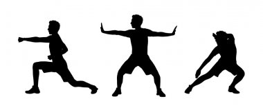 Man practicing tai chi silhouettes set 1