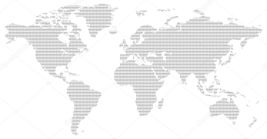 Black and white men pattern world map stock photo little men pattern contemporary grey world map showing the population of our planet photo by whiteisthecolor gumiabroncs Images