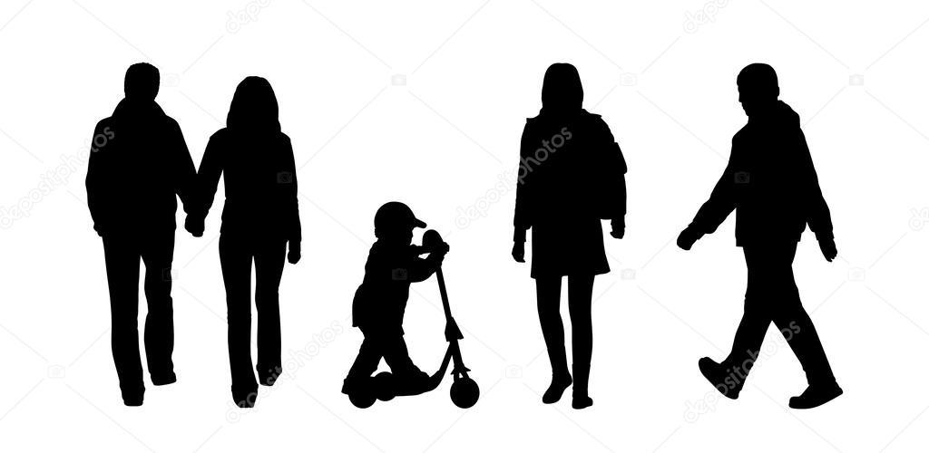 Immagini Sagome Persone.Persone Che Camminano Insieme Sagome Esterna 5 Foto Stock