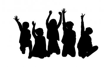 five happy children seated silhouette