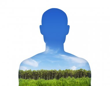 man breathing clean air