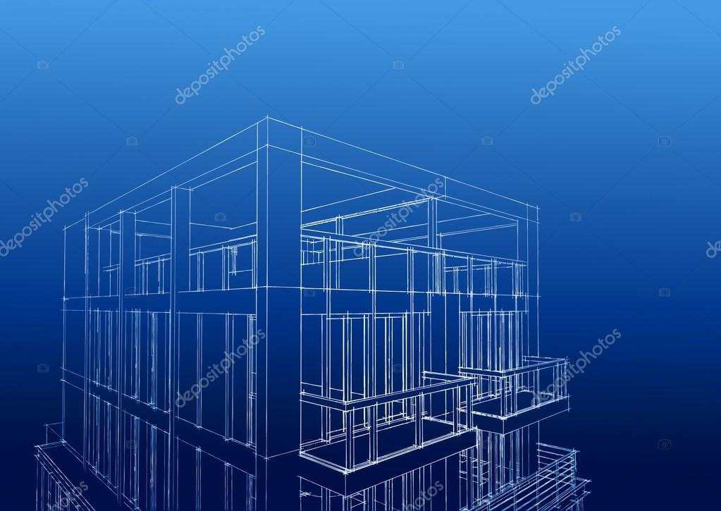 Drahtmodell des zeitgenössischen 3 stöckiges Haus — Stockfoto © Weat ...