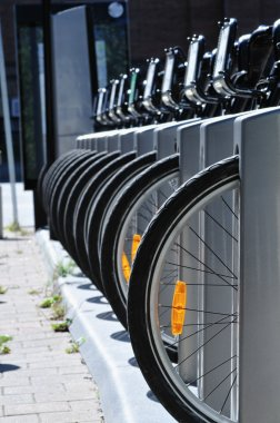 Bicycle tires in a row