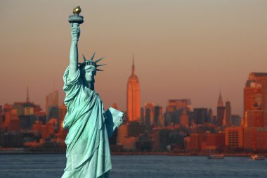 New York: The Statue of Liberty, an American symbol, with Lower
