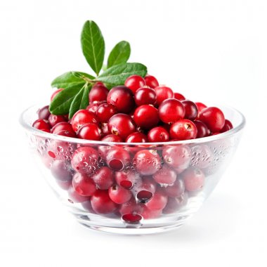 Glass bowl with cranberries