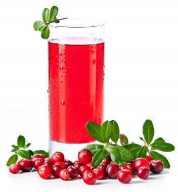 Fruit drink made from cranberries with leaves