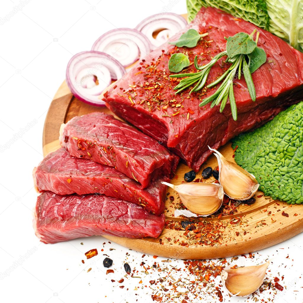 Raw fresh meat with vegetables