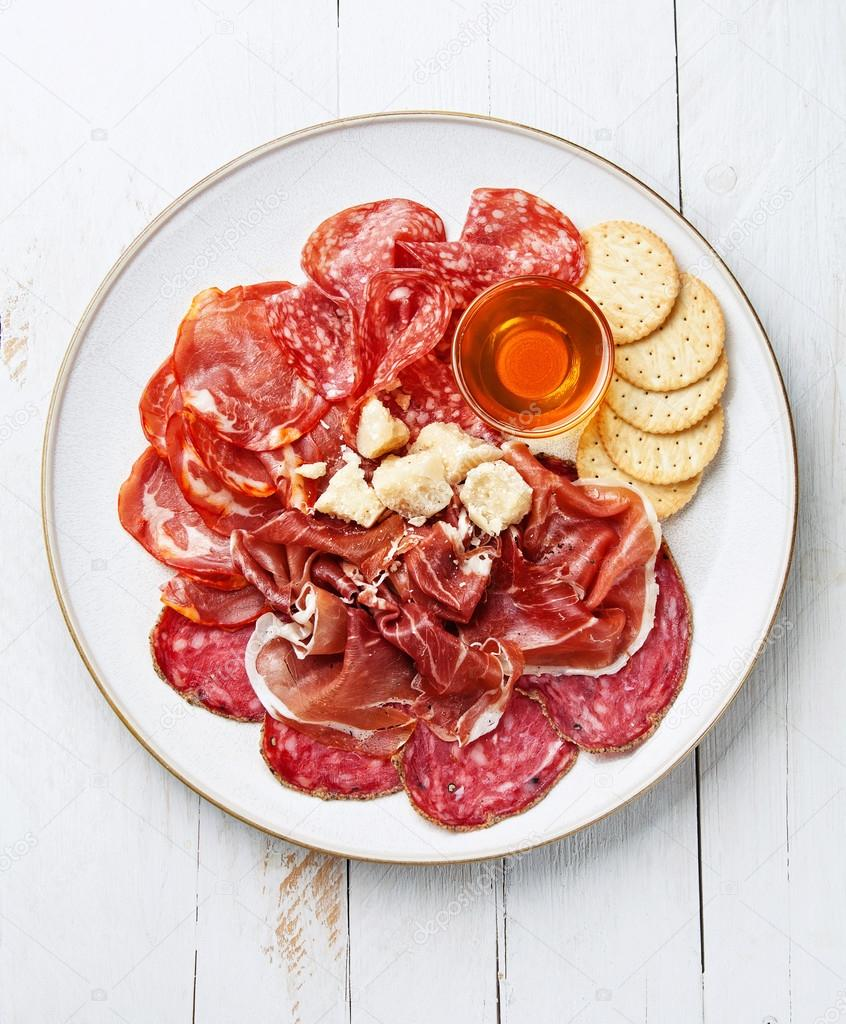 Platter of Assorted Cured Meats, Cheese and Honey