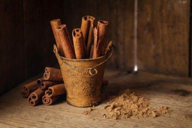 Cinnamon sticks in bucket