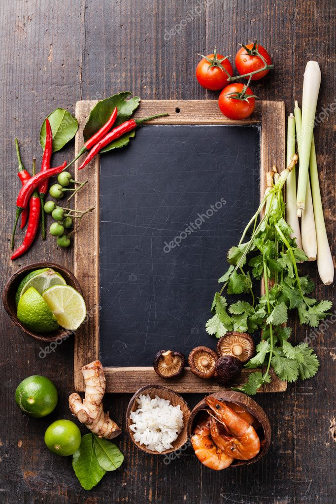 Ingredients for spicy Thai soup Tom Yam