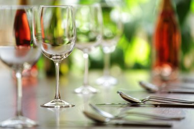 Wine glass and place settings