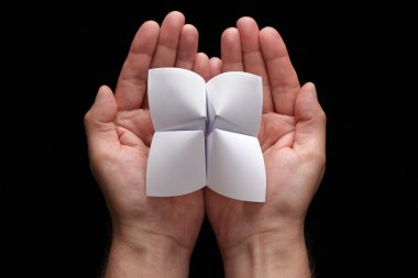 Origami fortune teller with blank choices