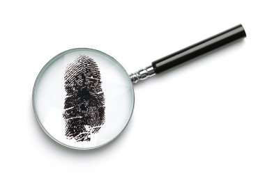 Magnifying glass examining fingerprint isolated on white with soft shadow concept for crime or forensic science stock vector