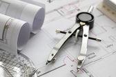 kreslení kompas na dům plán