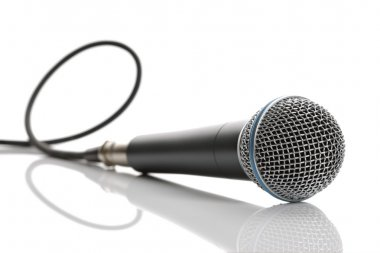 Microphone with cable isolated on white background stock vector